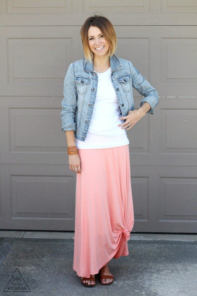 denim jacket white and a maxi skirt up in