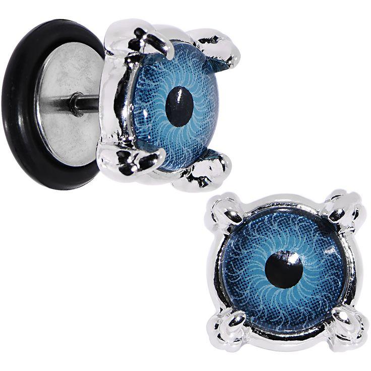Black Talon Blue Iris Stainless Steel Human Eye Inlay Cheater Plug
