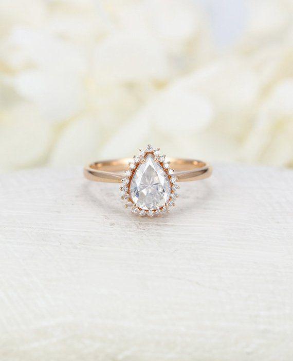 Pear Shaped Moissanite Engagement Ring Vintage Art Deco Unique