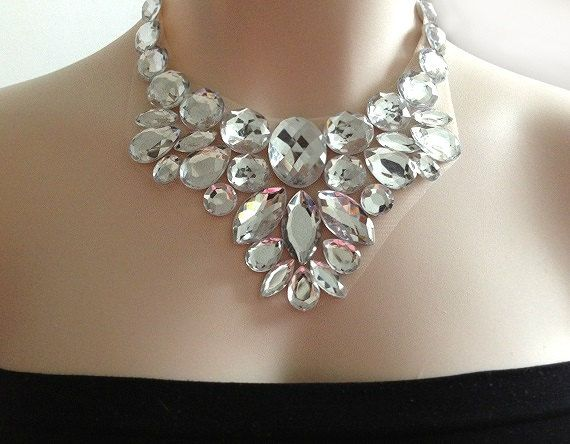 crystal bib necklace - crystal clear rhinestone bib necklace, wedding necklace, bridesmaids, prom statement necklace, gift or for you NEW