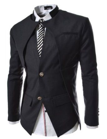 TheLees Mens Slim Fit Double Collar 2 Button Blazer Jacket