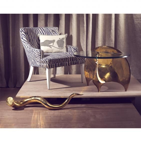 The Ideal Accent Piece For The Witty Sophisticate, The Brass Peacock Table  Is Topped With A One Inch Thick Sheet Of Tempered Glass For Luxe  Sophistication.