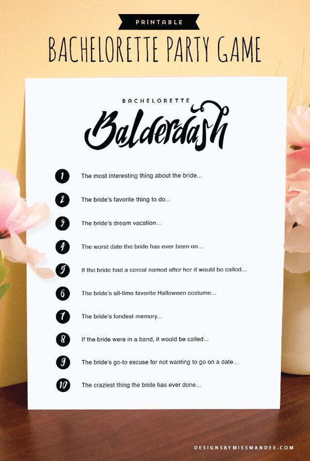 Bachelorette Party Game Bachelorette Balderdash