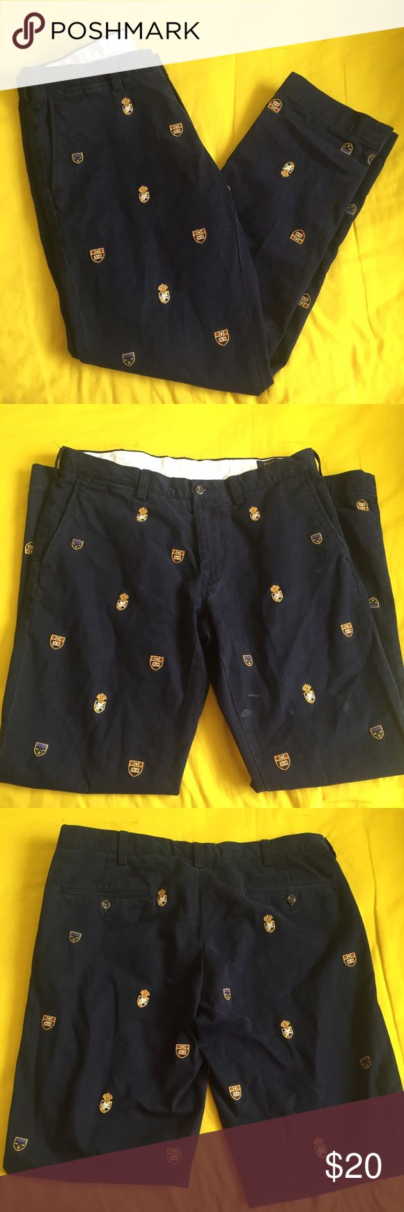 POLO Ralph Lauren Navy SLIM Fit Embroidered Pants Men's pants. Size 34/32 Polo by Ralph Lauren Pants Dress