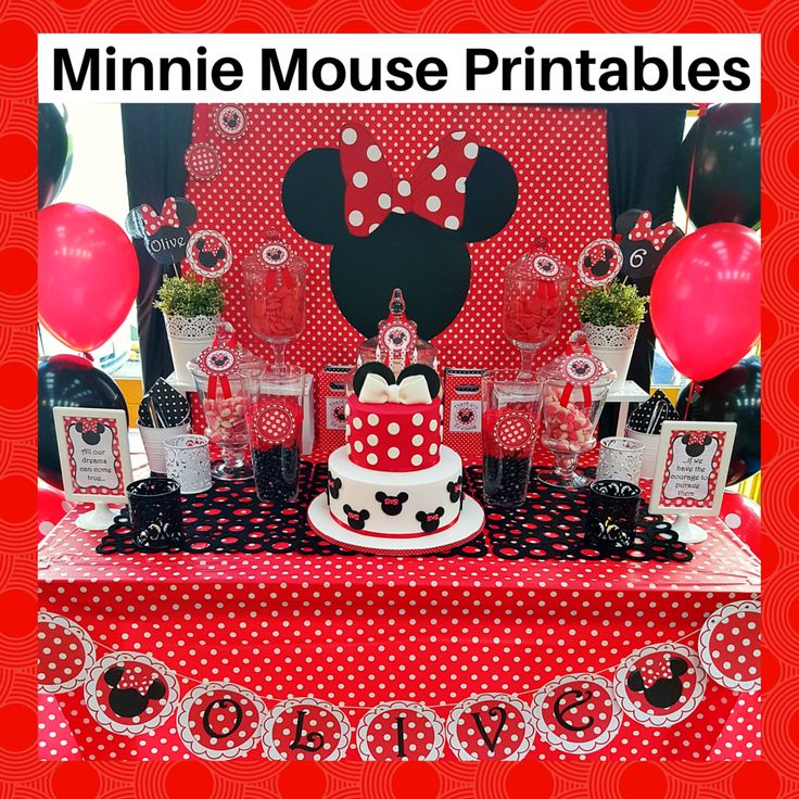 Red Minnie Mouse party printable set - with candy jar tags, lollipop labels, bunting, signs and free personalisation of the invitation. Available at https://www.etsy.com/listing/452513052/red-minnie-mouse-printable-set-free?ref=shop_home_active_1