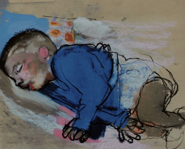 """Joan Eardley, """"Sleeping Child,"""" c.1962, pastel on sandpaper, 8 5/8 x 10 3/4 in, Private Collection"""