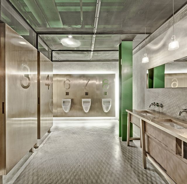 200 Best Restaurant Bathrooms Images On Pinterest: Mesh Ceiling Detail Exposes Brightly Painted Pipes; New