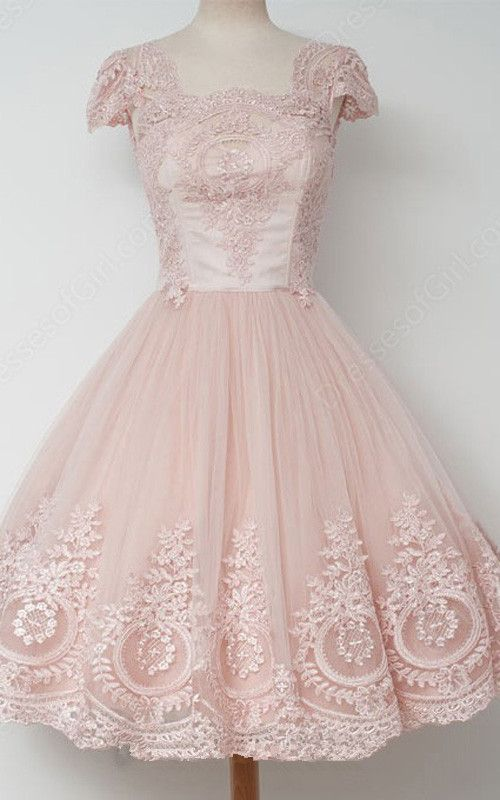 Pink Ball Gown Sleeveless Tea Length Square Neckline Tulle Appliques Lace Short Homecoming Dress