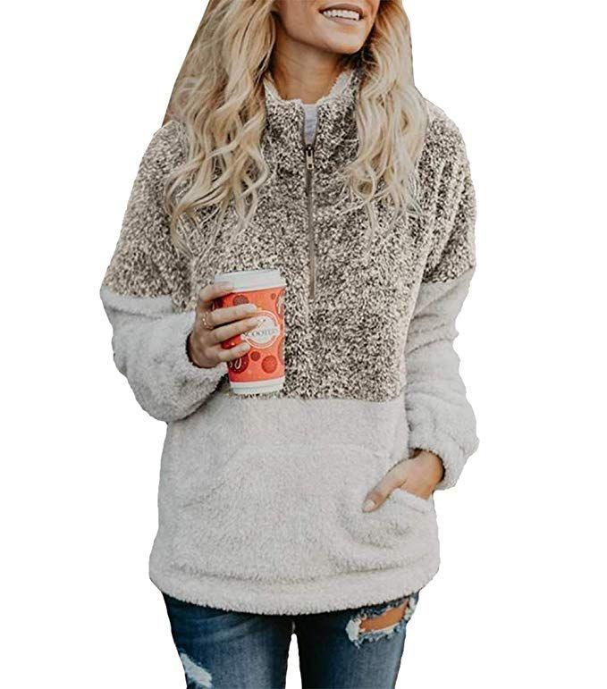 Women Long Sleeve Zipper Sherpa Sweatshirt Soft Fleece Pullover Outwear Coat