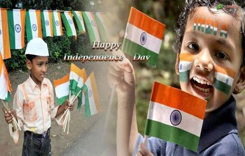 happy independence day india cute kids with indian flag 500x319 independence day 15 august india Pictures Images Quotes