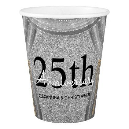 25th Wedding Anniversary Silver and Black Glitter Paper Cup - glitter gifts personalize gift ideas unique
