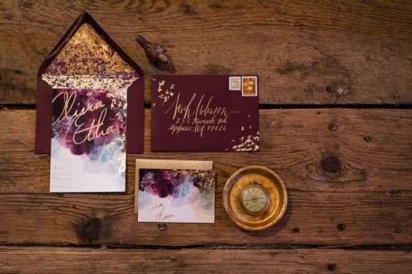 Farbidee Marsala/ Gold für die Einladungen
