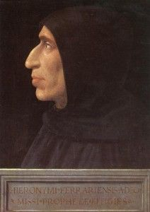"""Part I. Girolamo Savonarola (1452-1498), portrait painted by Fra Bartolommeo, 1472-1517. Savonarola was a reformer, who came to Florence at the invitation of Lorenzo de' Medici. Savonarola turned on his patron, and called upon the Florentines to give up the opulence and the vanitiies that consumed their lives. He preached against Florentine immorality, and predicted the heavenly scourging of the city by God. He encouraged the """"bonfires of the vanities."""""""