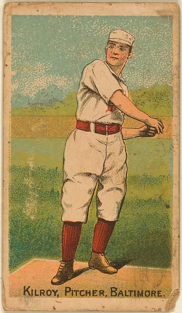 vintage baseball card from 1887 :: Matt Kilroy Baltimore Orioles from Library of Congress