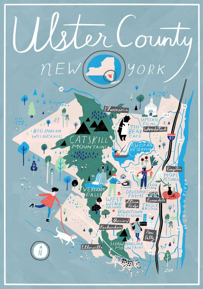Ulster County map, NY (Catskills/Hudson Valley) on Design*Sponge by Libby VanderPloeg