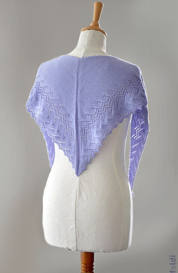 Knitting Summer Scarves : Knitted alpaca and merino wool summer lace scarf in