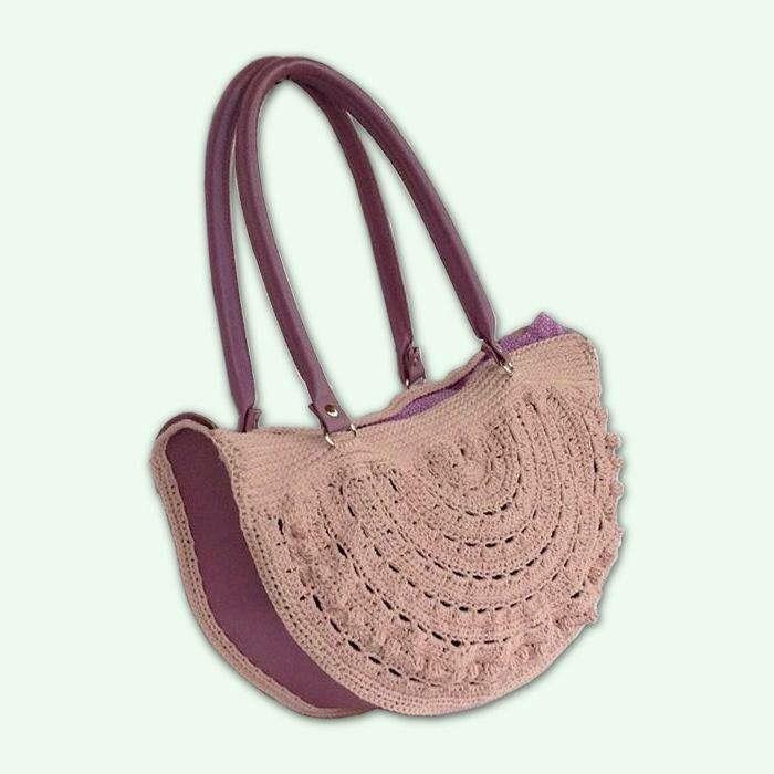 Borsa a spalla semicircolare in cotone rosa ed ecopelle color malva : Borse a tracolla di bags-dream-team