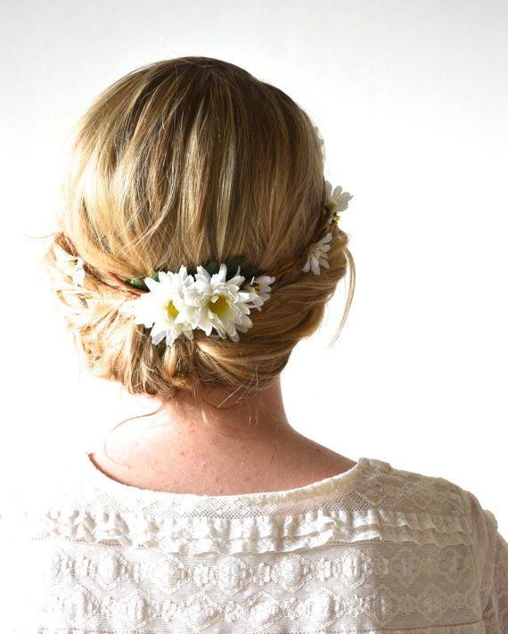Daisy Headpiece, Flower Crown, Floral Crown, Woodland, Daisy Head Wreath, Wedding Head Piece, Bridal Hair Accessories - DAISY CHAIN on Etsy, $45.00