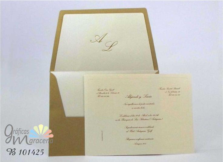 Invitación de boda clásica & sobre con forro tono dorado