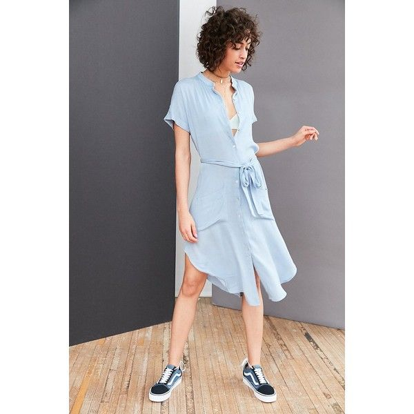 Ecote Gauze Band Collar Shirt Dress (53 CAD) ❤ liked on Polyvore featuring dresses, long button up shirt dress, button down dress, boho dresses, boho chic dresses and t-shirt dresses
