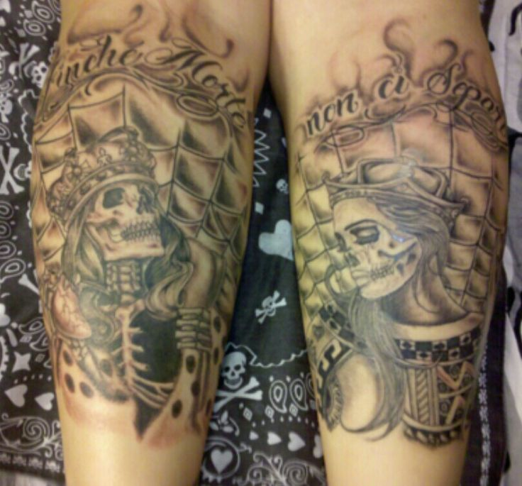 King queen b o d y a r t pinterest king queen and for King and queen skull tattoos