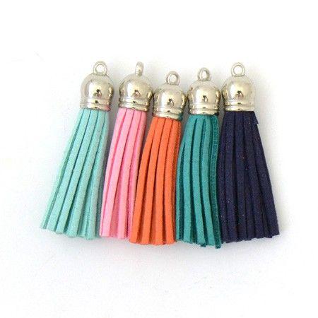 4 Pompons en suédine - Turquoise-Rose-Orange-Marine