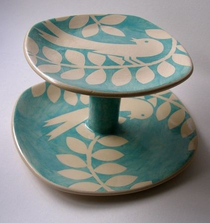 contemporary serveware by Yellow House Art. This simple two-tiered cake stand was created by Ken Eardley