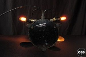 Lampe Tractor creation unique ventilateur steampunk loft 7  / strange Steampunk Industrial Tractor lamp made from vintage stuff