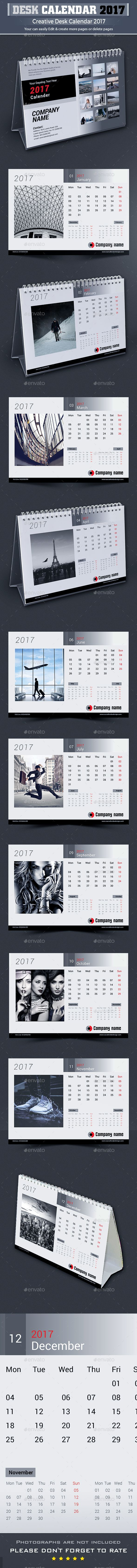 Desk Calendar 2017 Template InDesign INDD