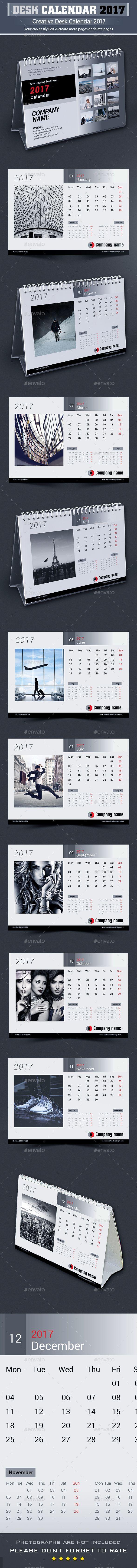 Desk Calendar 2017 Template InDesign INDD