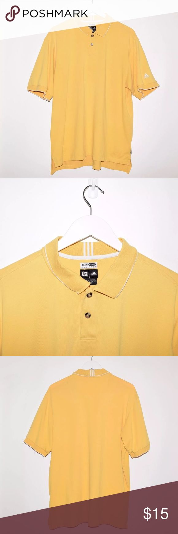 Adidas Climalite Stretch Golf Polo Shirt Brand: Adidas Item name: Men's Climalite Stretch Performance Golf Polo Shirt   Color: Mustard Yellow Condition: This is a pre-owned item. It is in excellent condition with no stains, rips, holes, etc.Comes from a smoke free household. Size: Medium Measurements laying flat: Pit to pit - 23 inches Neckline to base - Front: 27 inches Back: 29.5 inches adidas Shirts Polos