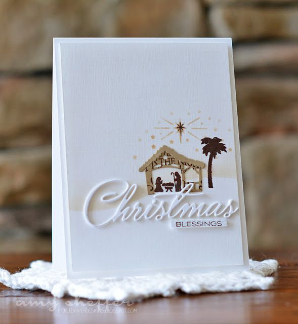 Pickled Paper Designs: Christmas Blessings card (PTI Petite Places: Nativity & Christmas Cheer stamp/dies)