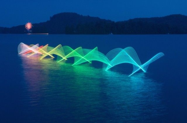 Light Painting with Kayakers and Canoers