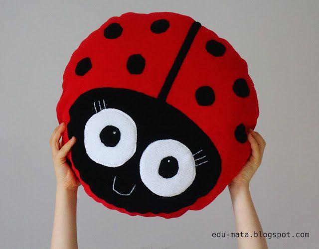 sew lady bug, poduszka biedronka, szyta biedronka, lady bug pillow,