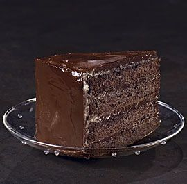Southern Devil's Food Cake ~ This four-layer Southern classic is made with cocoa powder, not chocolate, with a generous spoonful of mayonnaise in the batter to keep the cake moist and rich. A simple, luscious ganache of semisweet chcoolate, cream, and butter does double duty as filling and frosting.
