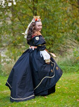 Copyright-Laila-Duran Toarp wedding dress. Västergötland, Sweden. Most brides in the Swedish countryside dressed like this until about 150-200 years ago. The dresses and crowns were owned by the church and then the amount of decorations was as much as the bride and her family could afford.