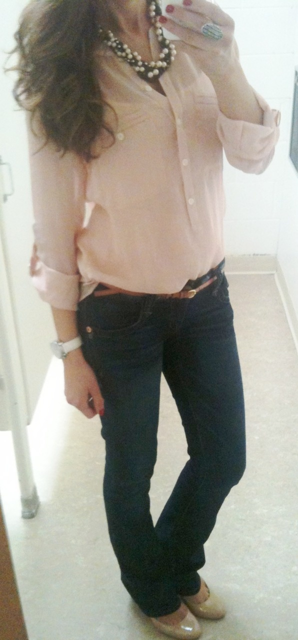 casual outfit, pretty blouse! Prefer it with some skinny jeans!