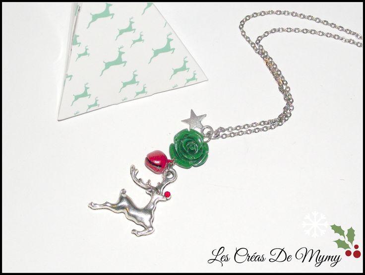 Collier Renne de Noël ,grelot rouge ,strass,rose verte,métal argenté,cadeau de noël : Collier par mimibibi