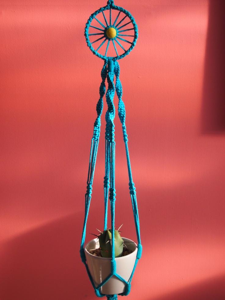 Hand dyed blue, macrame hanger.