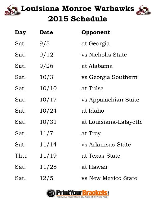 Printable Louisiana Monroe Warhawks Football Schedule 2015