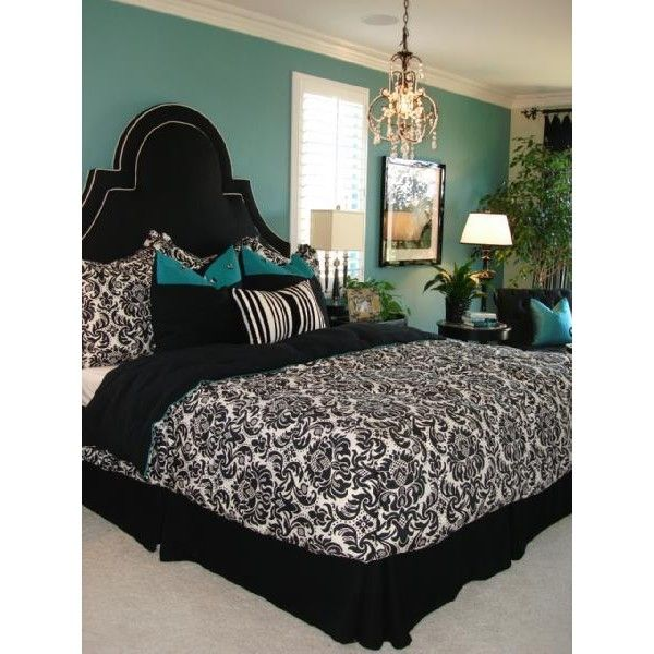 Love the Black, White, & TurqoiseWall Colors, Colors Combos, Beds, Wall Painting Colors, Black And White, Black White, Colors Schemes, Master Bedrooms, Bedrooms Ideas