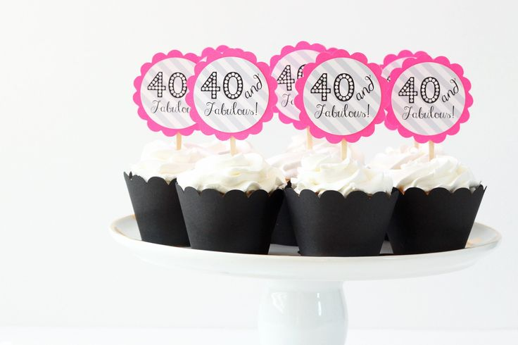 "40th Birthday Party Cupcake Toppers Neon Pink Grey Chevron Cupcake Toppers Hot Pink Party Supplies 40 and Fabulous Birthday. It's not enough to just put the icing on top anymore. Impress your guests with these 40th birthday cupcake toppers! Listing includes a set of 12 cupcake toppers. Topper reads ""40 and Fabulous"" with a grey stripe background, backed with a 2.5 inch neon pink paper scalloped circle, all applied a standard size toothpick. (Cupcake wrappers sold separately.)."