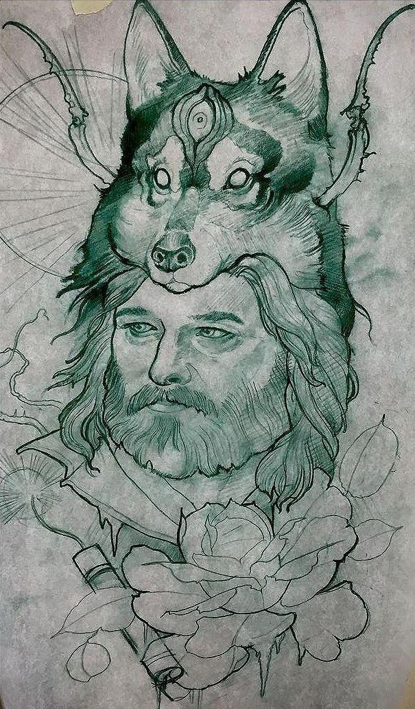 Эскиз татуировки с волком