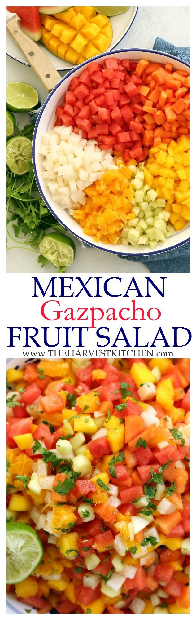This Mexican Gazpacho Fruit Salad is refreshing and light and it makes a perfect summer fruit salad for barbecues, potlucks and dining al fresco. | healthy recipes | | clean eating | | detox recipes | | detox salad recipes |