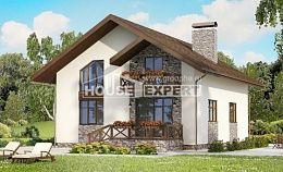 155-001-П Проект двухэтажного дома мансардный этаж, гараж, уютный загородный дом из блока