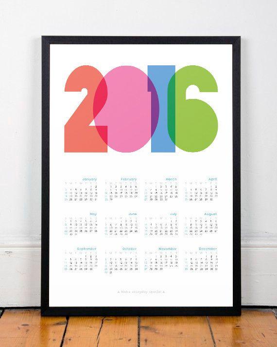 2016 calendar print 2016 calendar Calendar by ShopTempsModernes