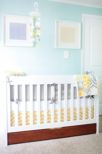Will's Yellow & Aqua Abode with BabyMod ParkLane Crib on @Apartment Therapy Family <3