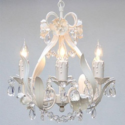 Mini 4-light White Floral Crystal Chandelier