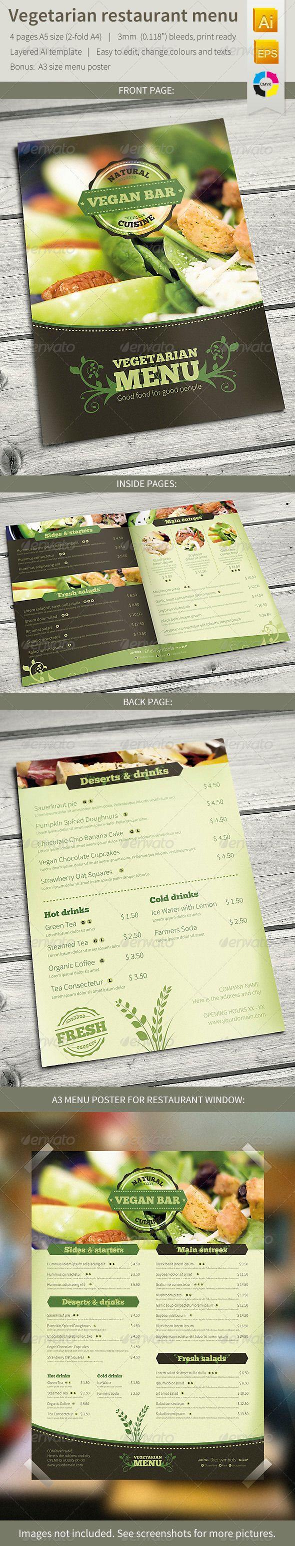 Vegetarian Restaurant Food Menu  #GraphicRiver