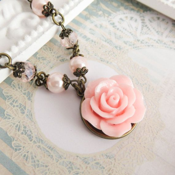 Pink Flower Necklace Pearl Bridesmaid Romantic Wedding Jewelry Gift Country Chic